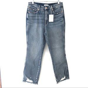 Good American Good Curve Fray Hem Straight Jeans